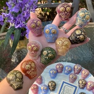 PACK OF 4 Magnets Sugar Skull Colorful Resin Art